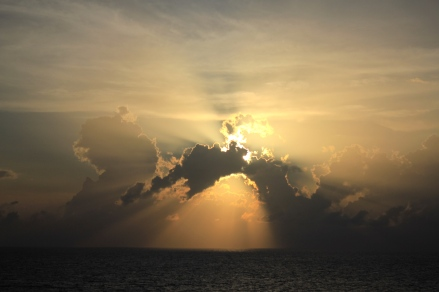 Gulf of Mexico Sunset featuring crepuscular rays