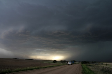 A dust storm associated with a thunderstorm's outflow boundary in Colorado